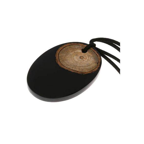 Kette, Holzoptik-Anhänger, lange Form, Veloursband
