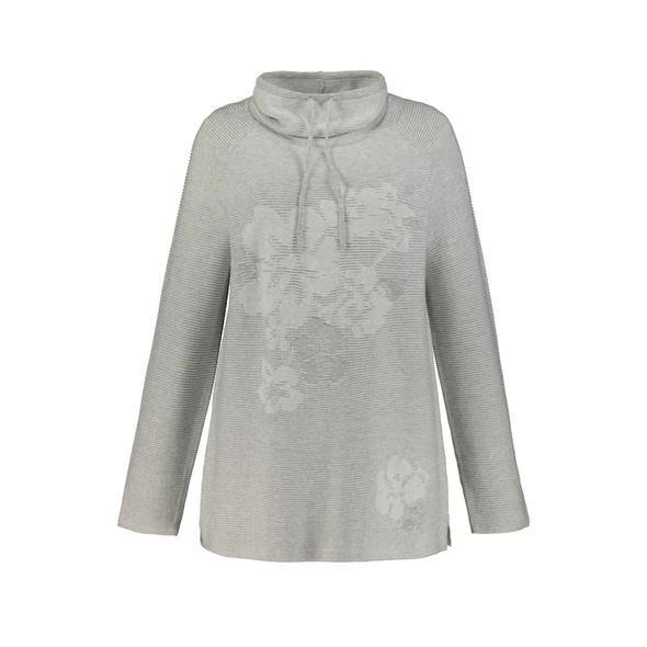 Long-Pullover, gestricktes Motiv, großer Kragen