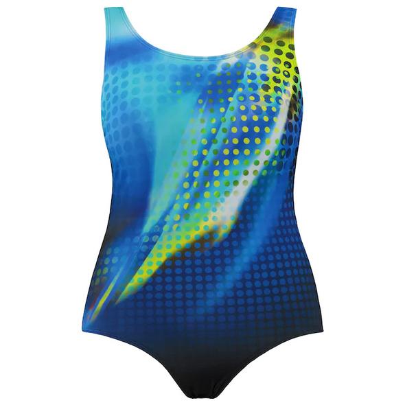 Badeanzug, sportiv gemustert, Unterbrustband