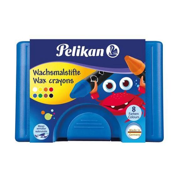 Pelikan Kunststoff-Etui mit 8 Wachsmalstiften und Schaber