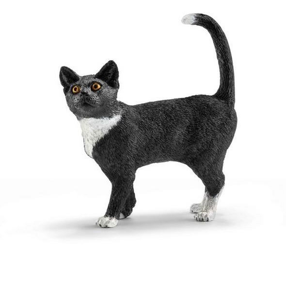 Schleich 13770 - Farm World, Katze, stehend, Tierfigur, schwarz weiß