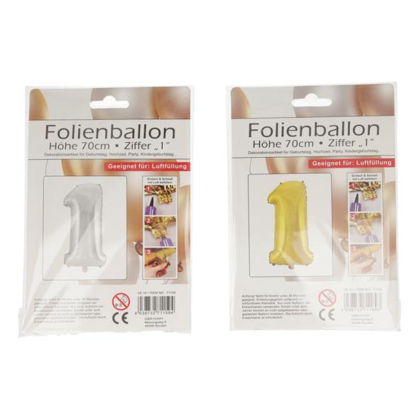 Folienballon mit Zahl 1