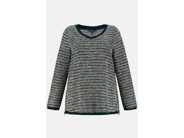 Ulla Popken Sweatshirt, Bouclé-Streifen, Classic, Reißverschluss - Große Größen
